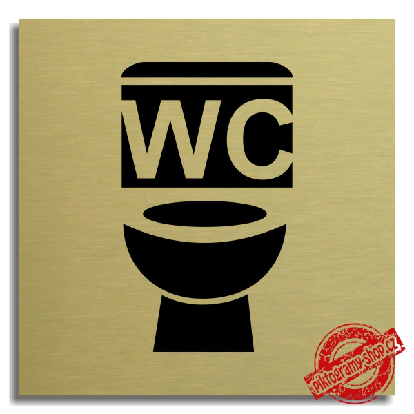 Piktogram WC unisex 2 , zlatý 100x100 mm, Nevada