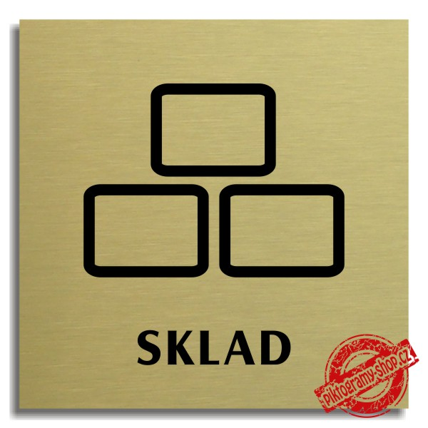 Piktogram Sklad 3 , zlatý 100x100 mm, Nevada