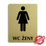 Piktogram WC ženy text, zlatý 100x133mm Oregon
